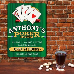 Poker Room Personalized Wall Sign | Mancave Gifts