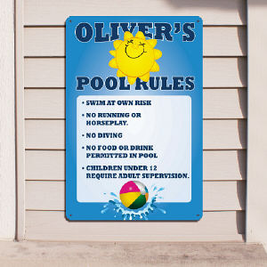 Pool Rules Personalized Wall Sign 635474