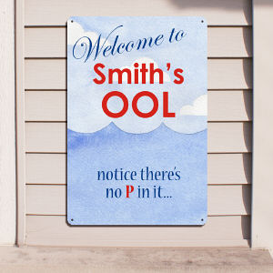Personalized Pool Welcome Metal Wall Sign