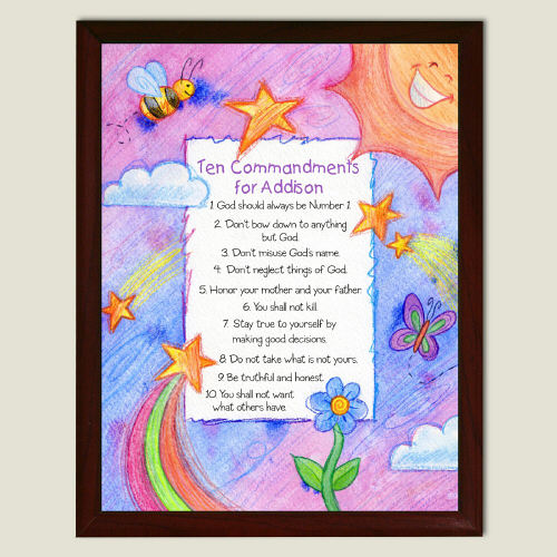 Personalized 10 Commandments Wall Plaque | Religious Baby D�cor