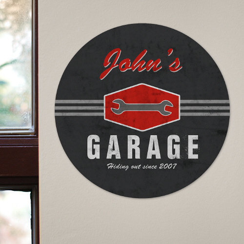 My Garage Personalized Round Wall Sign | Mancave Gifts