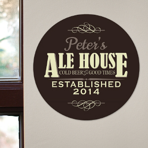 Personalized Ale House Round Wall Sign U767679