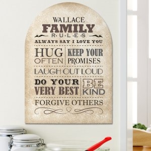 Family Rules Wall Sign | Personalized Housewarming Gifts