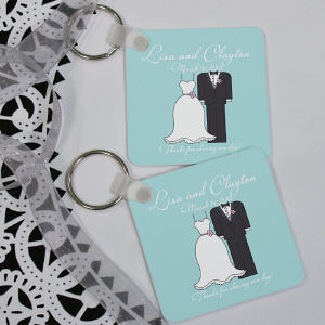 Personalized Bride And Groom Wedding Favor Key Chain