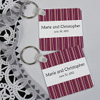 Personalized Striped Wedding Favor Key Chain 356400