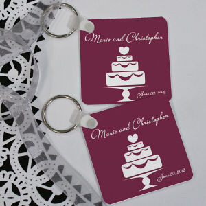 Personalized Wedding Cake Wedding Favor Key Chain
