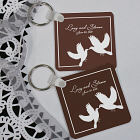 Personalized White Doves Wedding Favor Key Chain 359690