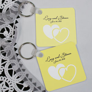 Personalized Wedding Favor Hearts Key Chain