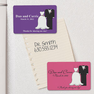 Personalized Bride And Groom Wedding Favor Magnet