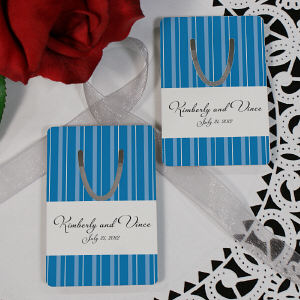 Personalized Striped Bookmark Wedding Favor
