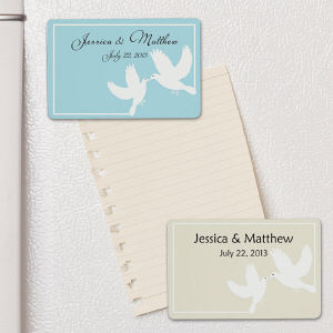 Personalized White Doves Wedding Favor Magnet