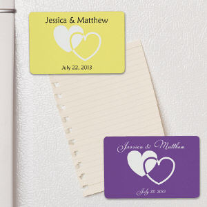 Personalized Wedding Favor Hearts Magnet