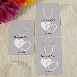 Personalized Wedding Favor Hearts Bookmark
