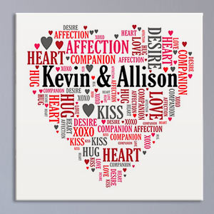 Couples Love Word-Art Canvas