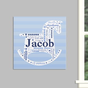 New Baby Boy Rocking Horse Word-Art Canvas