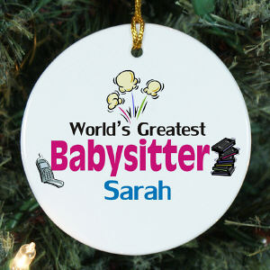 Personalized World's Greatest Babysitter Ornament