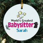 Personalized Ceramic World's Greatest Babysitter Ornament