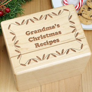 Personalized Christmas Recipe Box | Recipe Box And Cards
