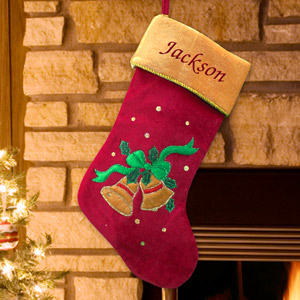 Embroidered Christmas Bells Stocking | Personalized Stocking