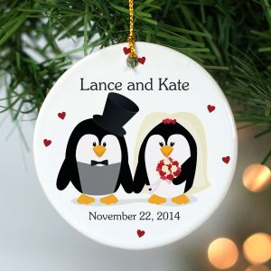 Personalized Penguin Bride and Groom Ornament
