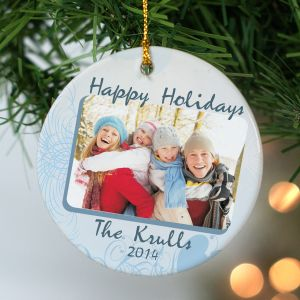 Ceramic Happy Holidays Photo Ornament