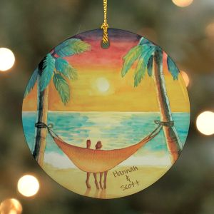 Personalized Beach Sunset Ornament