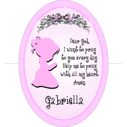 Girl's Bedroom Personalized Prayer Cross | Personalized Baptism Gifts