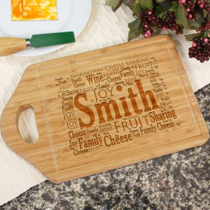 Engraved Family Sharing Word-Art Bamboo Cheese Carving Board | Personalized Cutting Board