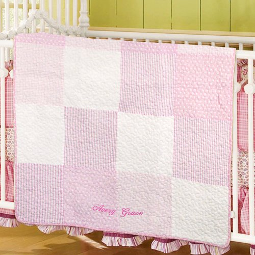 Embroidered Pink Baby Quilt | Unique Baby Shower Gifts