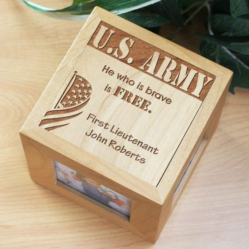 Engraved Military Wooden Photo Cube 412344