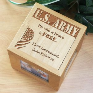 Engraved Military Wooden Photo Cube