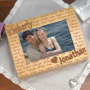 Engraved I Love You Photo Keepsake Box