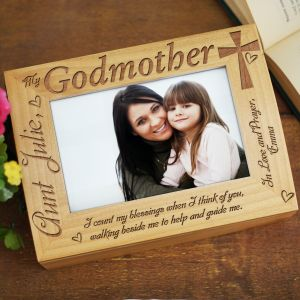 Engraved Godparent Wood Photo Keepsake Box 729386