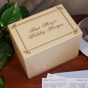 Personalized Holiday Recipe Box | Christmas Personalized Recipe Box