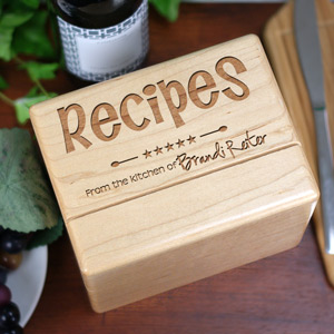 Engraved Kitchen Recipe Box | Personalized Housewarming Gifts