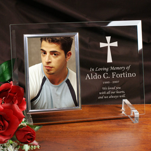 Engraved Memorial Beveled Glass Picture Frame 8549608X