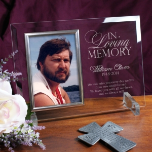 Engraved Memorial Beveled Glass Picture Frame 8578418X