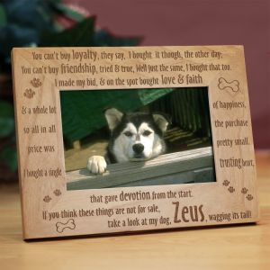 Engraved Dog Picture Frame | Personalized Wood Picture Frames