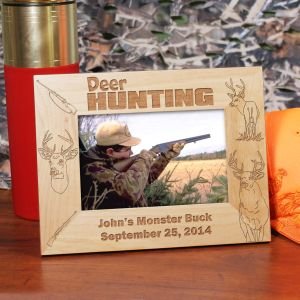 Engraved Deer Hunting Wood Picture Frame