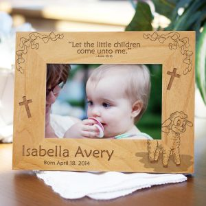 Engraved Little Lamb New Baby Wood Picture Frame