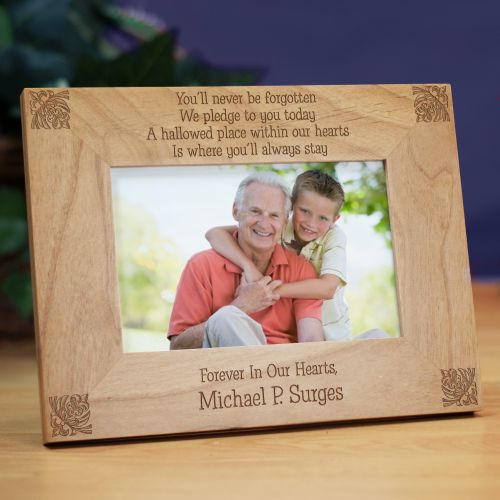You'll Never Be Forgotten Memorial Wood Picture Frame | Personalized Wood Picture Frames