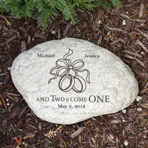 Engraved Two Became One Wedding Garden Stone