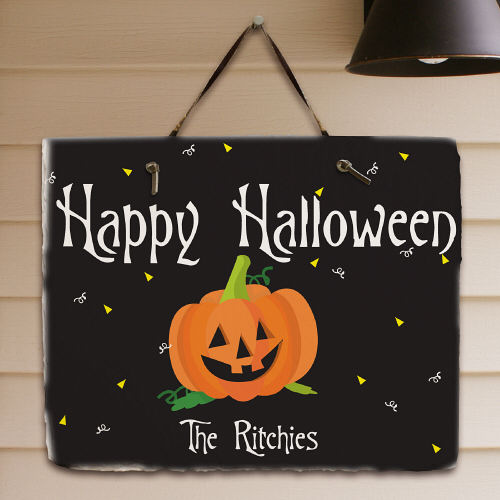 Happy Halloween Welcome Slate Plaque | Personalized Halloween Decor