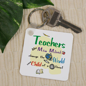 Personalized Teacher Key Chain - Change The World