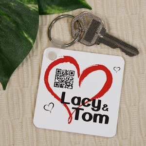 Personalized Romantic Message Barcode Keychain