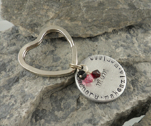 Hand Stamped Mom Keychain