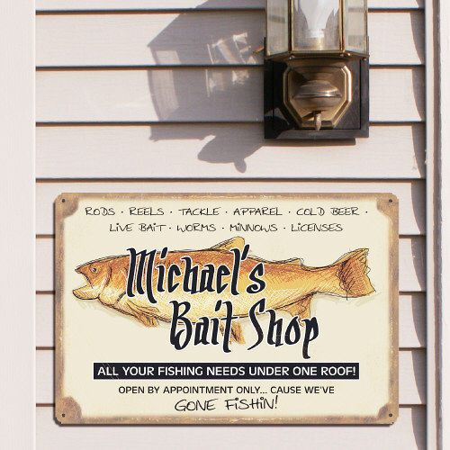 Personalized Fishing Metal Wall Sign