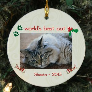 Personalized Ceramic Cat Photo Ornament