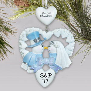 Personalized First Christmas Snow Couple Ornament | Couples First Christmas Ornament