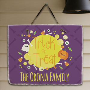 Personalized Trick or Treat Slate Plaque | Personalized Welcome Signs